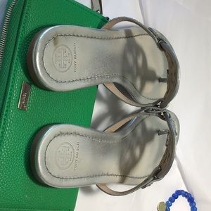 Shoes - Tory Burch silver leather Sandal